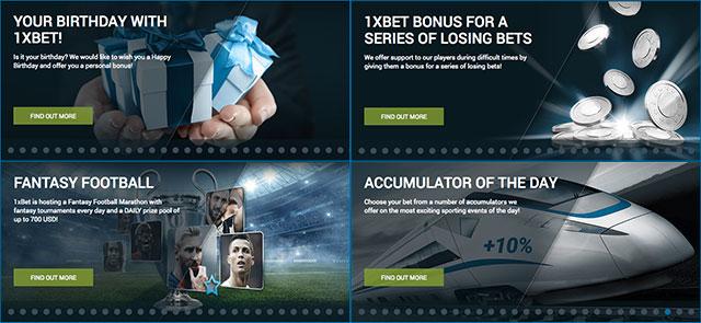 1xbet various bonuses