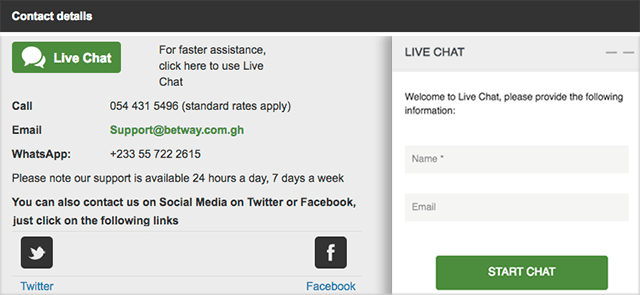 Betway Live Chat